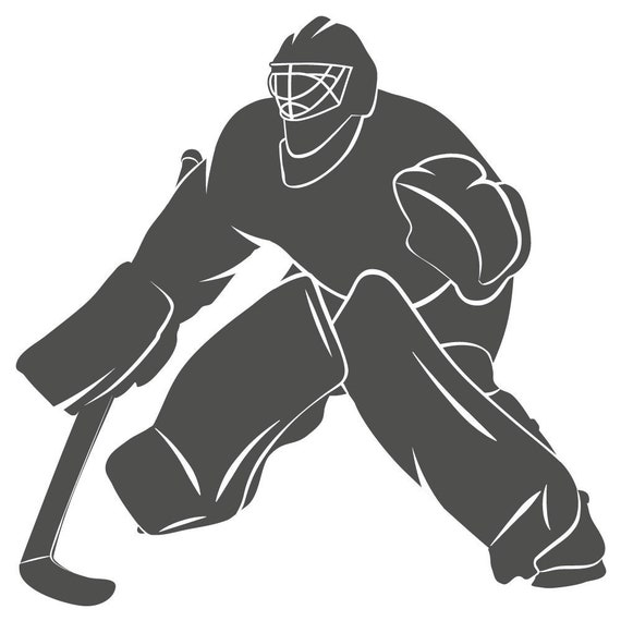Hockey Player Goalie Silhouette Vinyl Decal Sticker