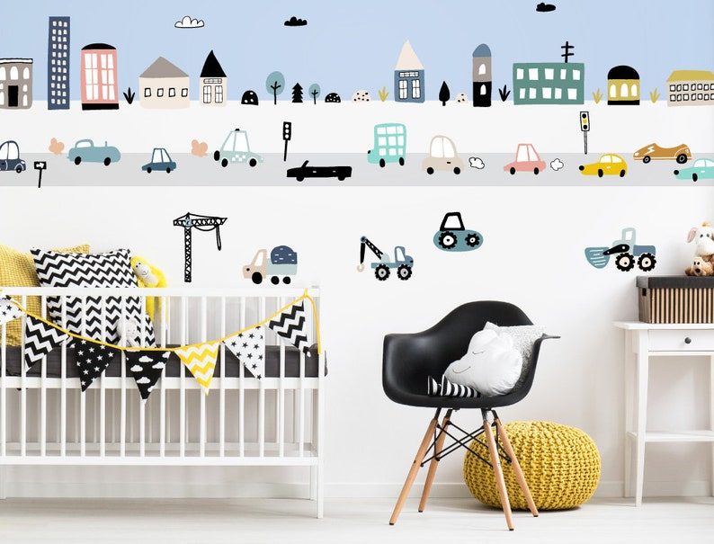 Wandtattoo Pastell Fahrzeuge City Stadt Set Autos Kinderzimmer Deko