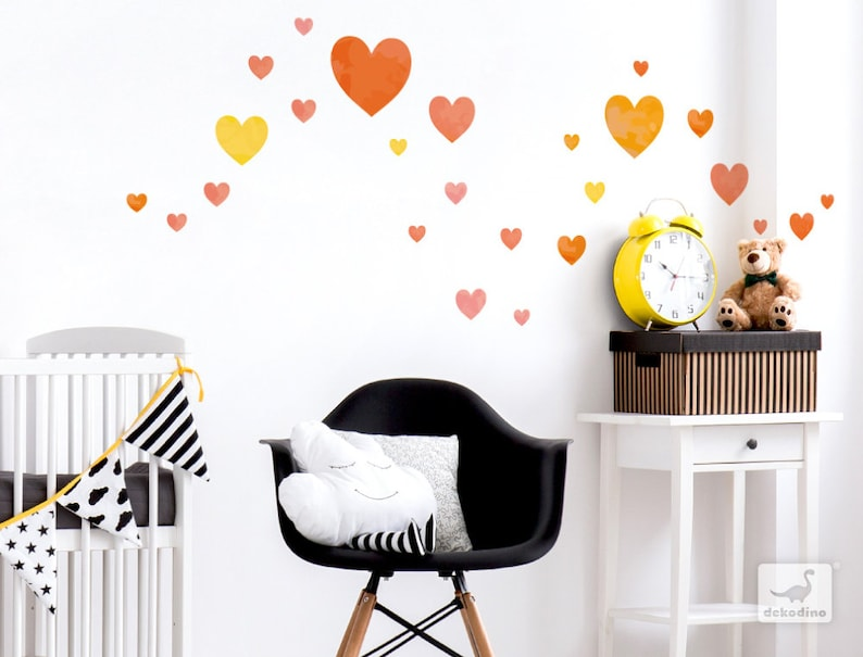 Wandtattoo Kinderzimmer Herzen orange Wandsticker Herzen