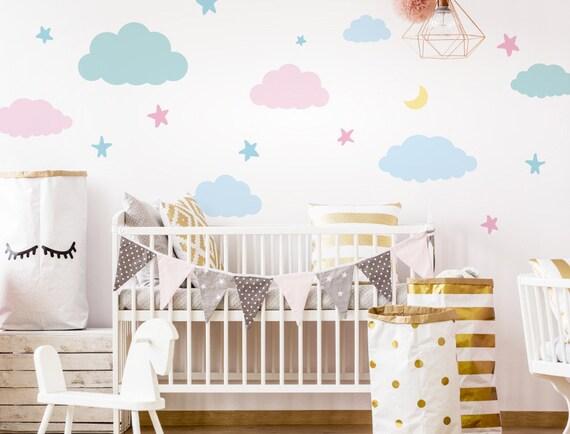 Wandtattoo Babyzimmer Wolken Und Sterne Etsy