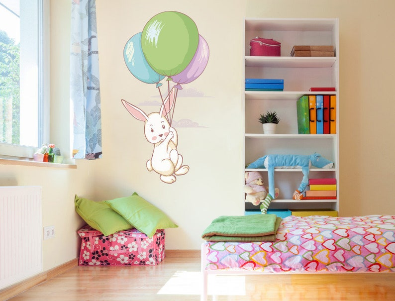 Wall decals childrens room bunny with balloons etsy
