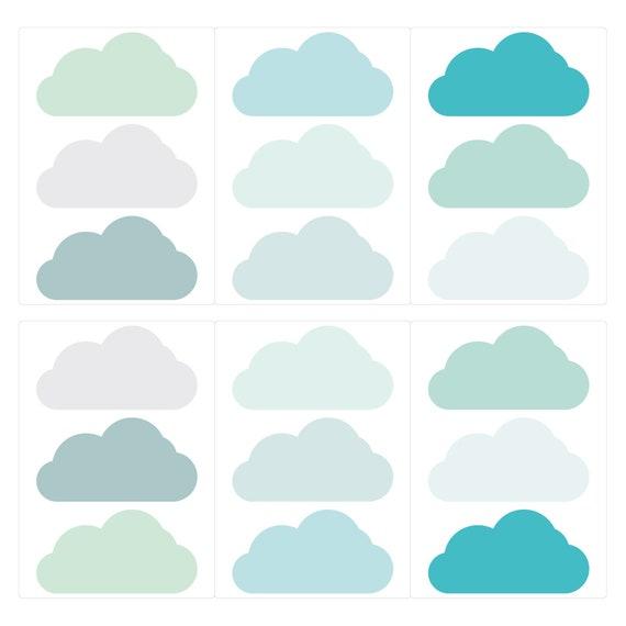 Wandtattoo Kinderzimmer Wolken Pastell Turkis Grun Etsy