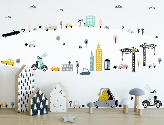 Wandtattoo Kinderzimmer Tiere und Fahrzeuge | Etsy