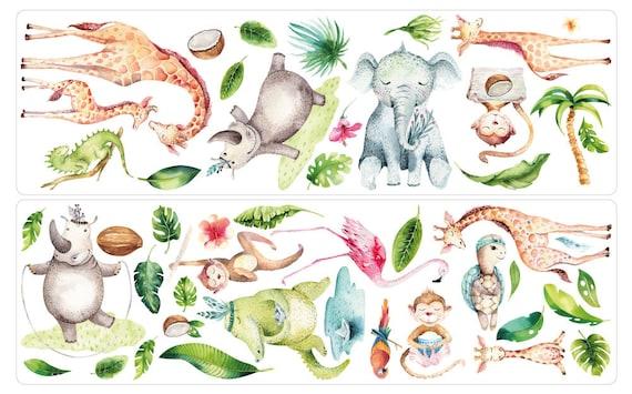 Wandtattoo Kinderzimmer Aquarell Safari Tiere Wandsticker Etsy