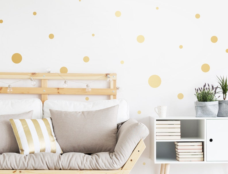 Wall Tattoo Circles Gold Matte Points Living Room Bedroom Nursery