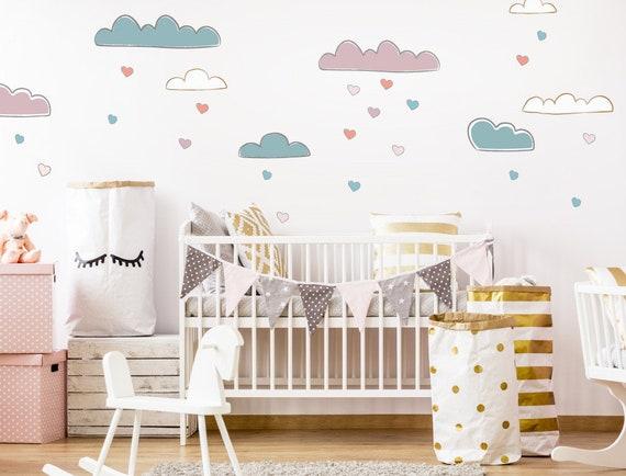 Wandtattoo Wolken Herzen Kinderzimmer Deko Madchenzimmer Junge Baby Verspielt Bunt Wandsticker