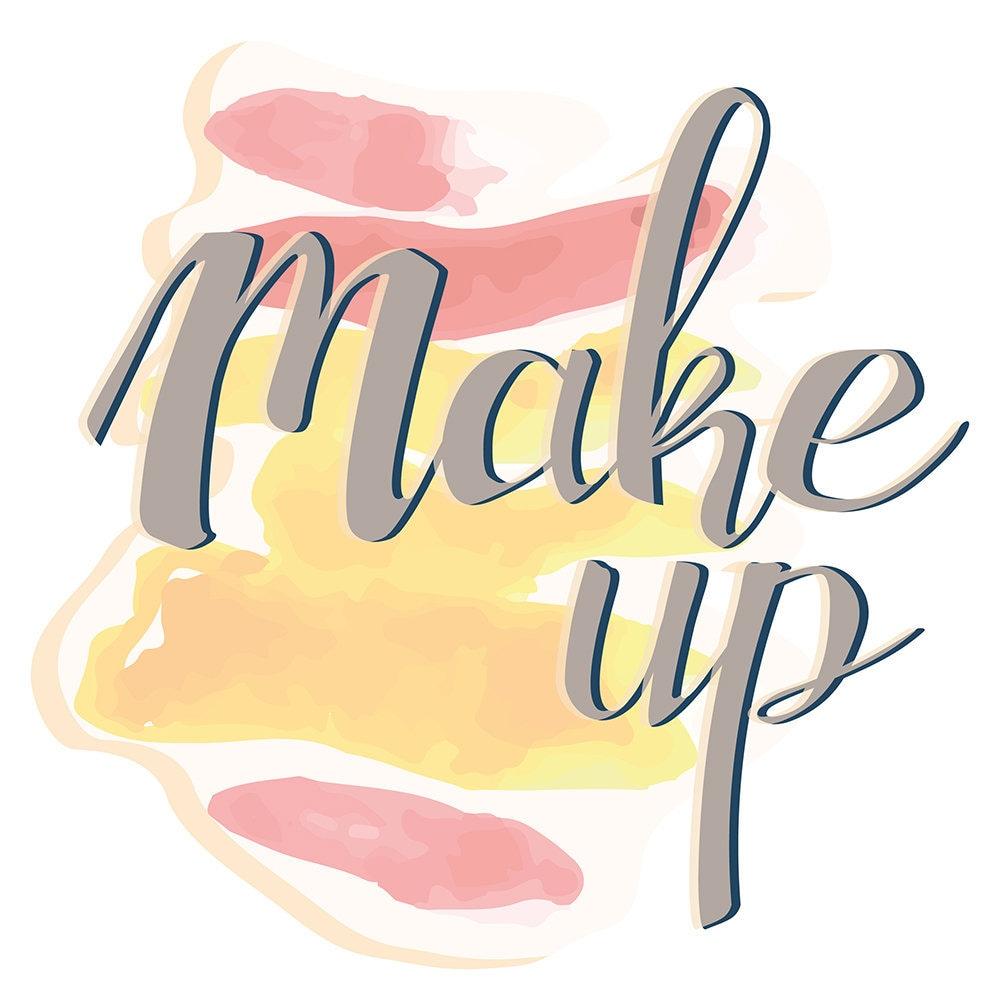 Wandtattoo Beauty Make up Schriftzug mit Lippenstiften Wandsticker