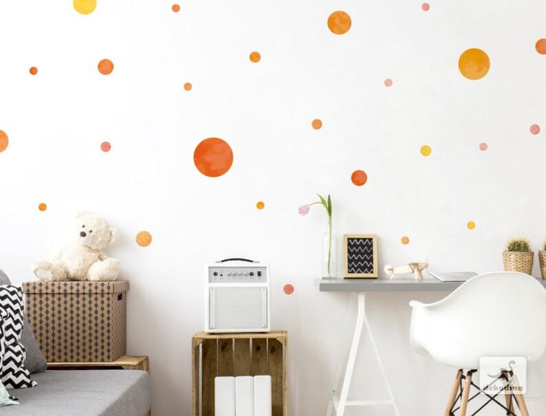 Wandtattoo Kinderzimmer Punkte orange Wandsticker Kreise