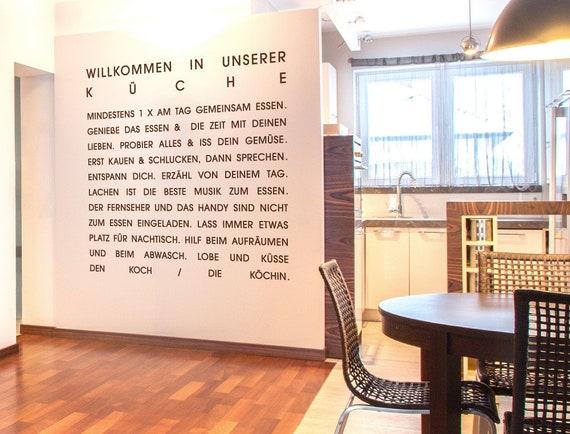 Wandtattoo Sprüche Küche \'\'Willkommen in der Küche\'\' XL Deko Wohnraum  Esszimmer Küchenzeile Küchenwand kochen Wandsticker