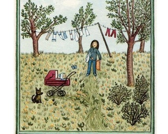 """Greeting postcard """"Spring greeting with laundry"""""""