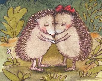 """Hedgehog postcard """"found"""""""