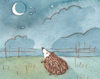 "Hedgehog Postcard ""The Moon"""