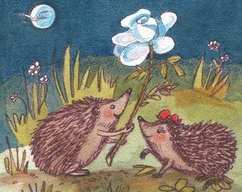 "Hedgehog postcard ""The Rose"""