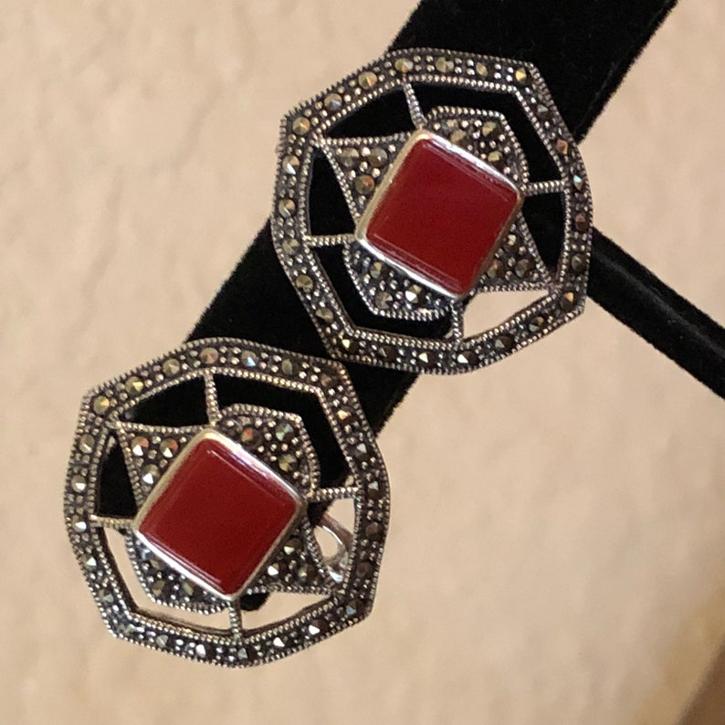 Birthday Gift Ideas Costume Jewelry Cocktail Earrings Sterling Silver Marcasite Jewelry 925 Solid Silver Red Stone Statement Earrings