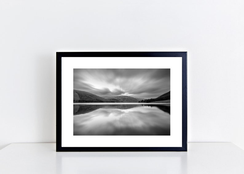 Scottish Borders St Mary/'s Loch Black and White framed photography print