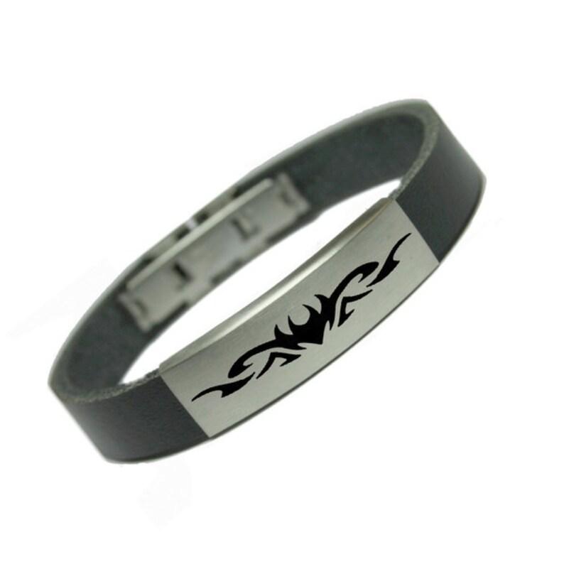 Bestbewerteter Rabatt gemütlich frisch ungeschlagen x Herren Leder Armband Gravur Tribal Schwarz 12mm Handarbeit Geschenk  Edelstahl Verschluss Gravurplatte