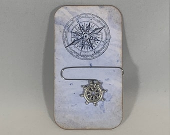 Journal Cards, Paper Clip, Nautical, Compass Rose, Thank You Gift, Traveler,