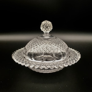 Candlewick Crystal Depression Glass Gravy or Sauce Boat with Liner Tray by Imperial Glass Company