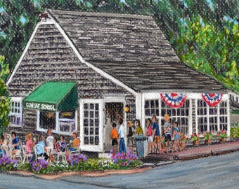 Sundae School Ice Cream, Cape Cod - an art print of a Bix DeBaise original pastel drawing