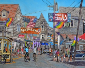Provincetown Art Print and Original - pastel drawing by Bix DeBaise (Free Shipping)
