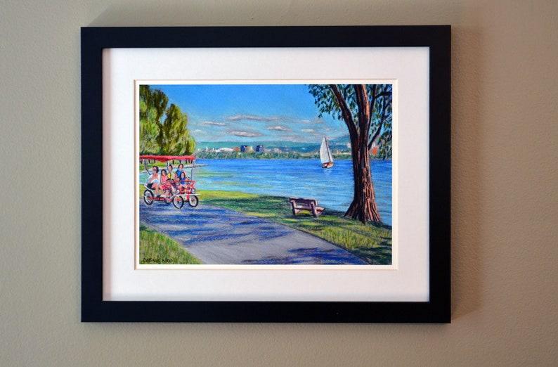 Onondaga Lake Syracuse NY an art print of a Bix DeBaise original pastel drawing