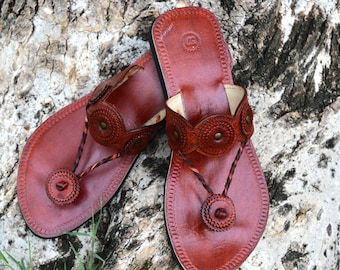 00101bf01e6d Handcrafted Women Leather Sandals Ladies Sandal Indian Style Floral Flip  Flop Brown Color Indian Dress Shoe