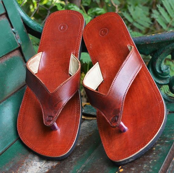Handmade Brown Men Leather Sandals Handcrafted Gents Sandal V Strap Boys Flip Flop Indian Dress Shoe