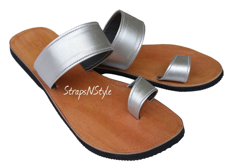 2040936a155d8 Women Biblical Leather Sandals Handmade Ladies Yashua Sandals Natural Brown  Silver Toe Strap Party Sandals Flip Flops Greek Slippers