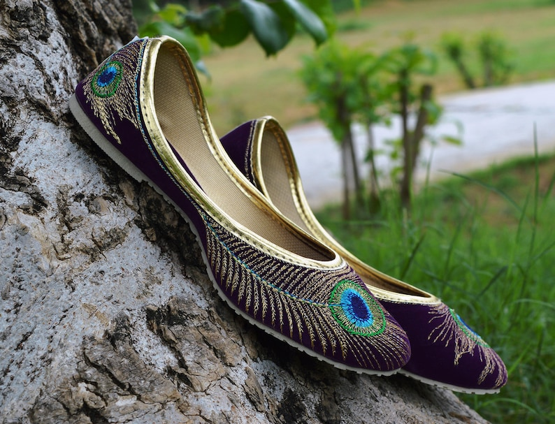 d308c70a81 Bridal Shoes Handmade Peacock Embroidered Women Khussa Girls | Etsy