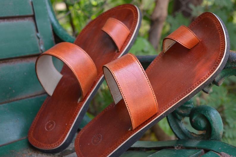 Men Handmade Leather Sandals Brown V Strap Slipper Indian Flip Flop Uk 6-11 Clothing, Shoes & Accessories Men's Shoes
