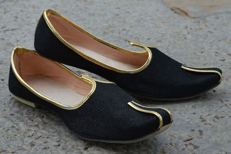 7f72d73946f Handmade Men Wedding Shoe Black Khussa Shoe Aladdin Shoes