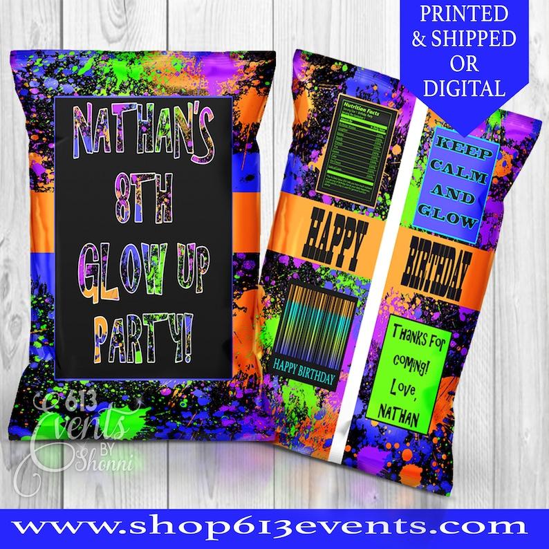 glow water labels-glow birthday-glow party favors-glow party-boy glow favors-boy glow water labels-glow invitation-neon birthday-neon party