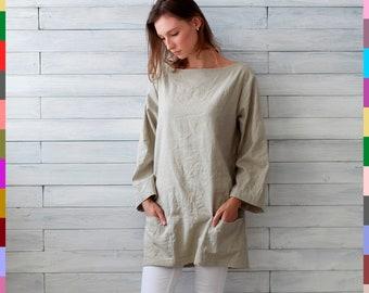 Linen summer tunic Minimal linen tunic Linen tunic with big front pocket Stone washed Linen Oversized light white linen tunic Soft