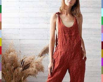 Linen jumpsuit women clothing GRETEL  Wide leg pants women linen clothing  Loose fitting linen apparel