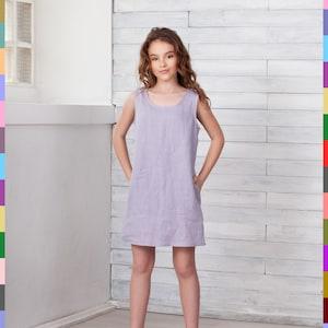 Italian linen. Italy Children linen tunic 100/% pure linen Girls flax dress Kids linen dress