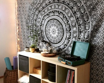 twin size chokdi flower black white elephant bedroom home 100 cotton bohemian gypsy wall hanging wall tapestry mandala tapestry bedspread - Bedroom Tapestry