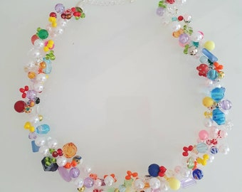 Necklace colorful & crocheted