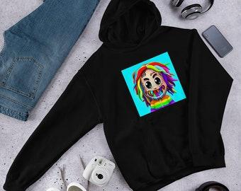 SESY Mens Hoodie Long Sleeve Sweatshirt Beautiful Shark Cool Printed Hooded Pullover Pocket Black
