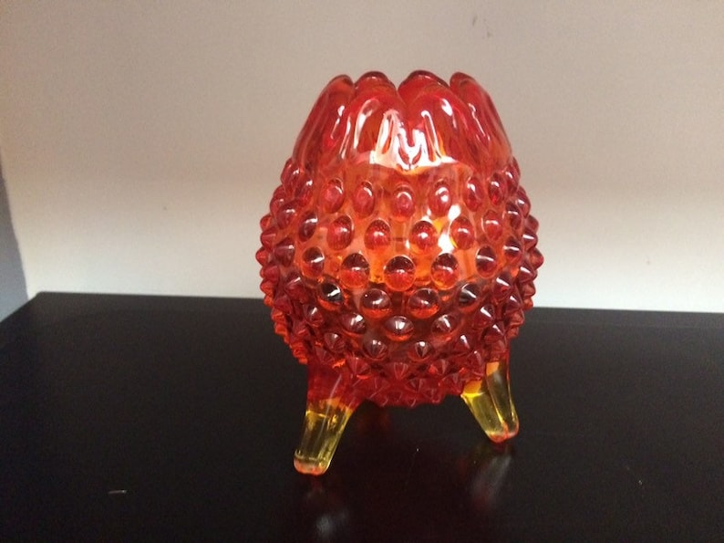 Tangerine Glass Vintage Home Decor Amberina Glass Hobnail shaped container Candy dish Vase Red to Yellow