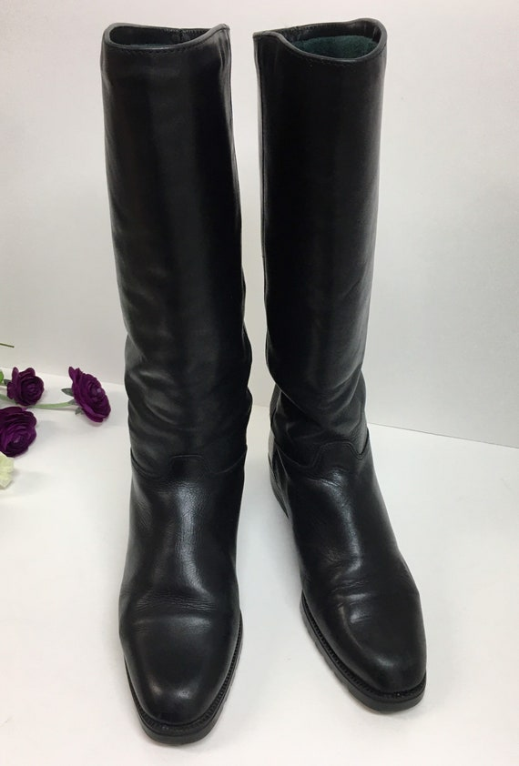 Pull on Black Boots, Womens knee high boots, Prep… - image 8