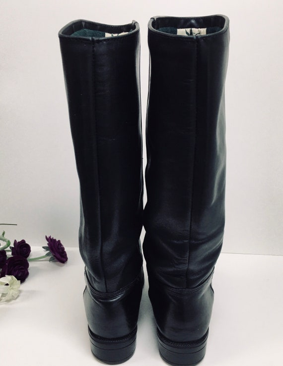 Pull on Black Boots, Womens knee high boots, Prep… - image 9