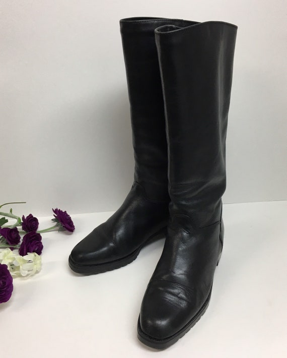 Pull on Black Boots, Womens knee high boots, Prep… - image 3