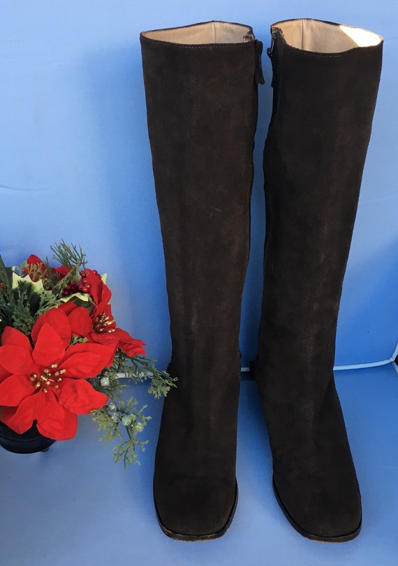 Vintage Tall Boots, Brown Suede Knee High Boots, K