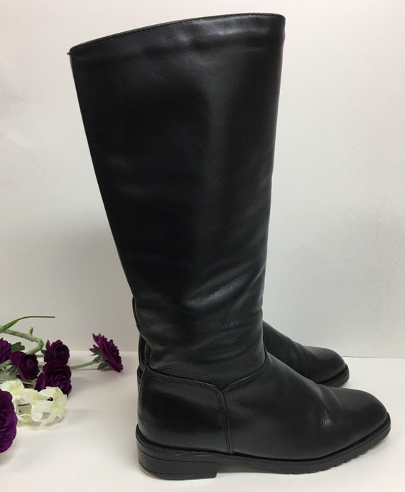 Pull on Black Boots, Womens knee high boots, Prepp