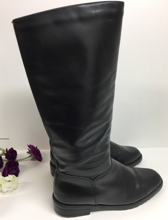 Pull on Black Boots, Womens knee high boots, Prep… - image 5