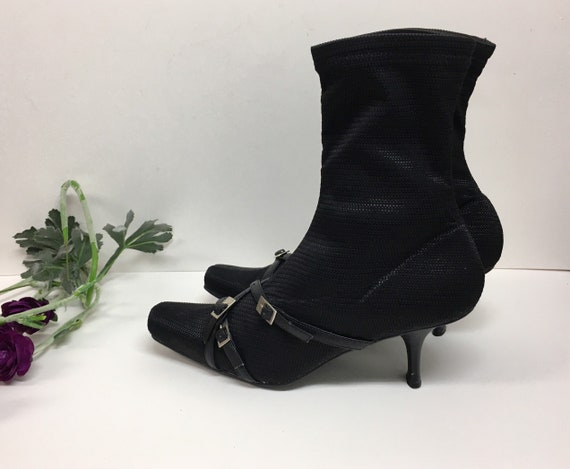 Y2K Black Fabric boots with Buckle Detail -  Sci-f