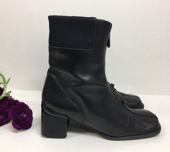 90s Square Toe Chelsea Leather Boots/ Block Heel … - image 10