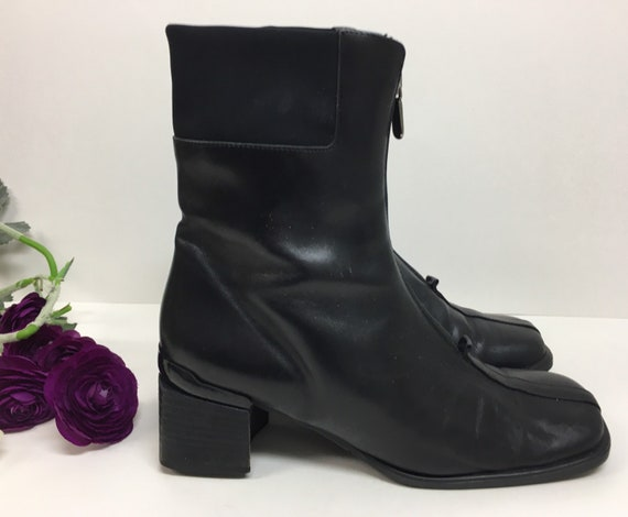 90s Square Toe Chelsea Leather Boots/ Block Heel … - image 1