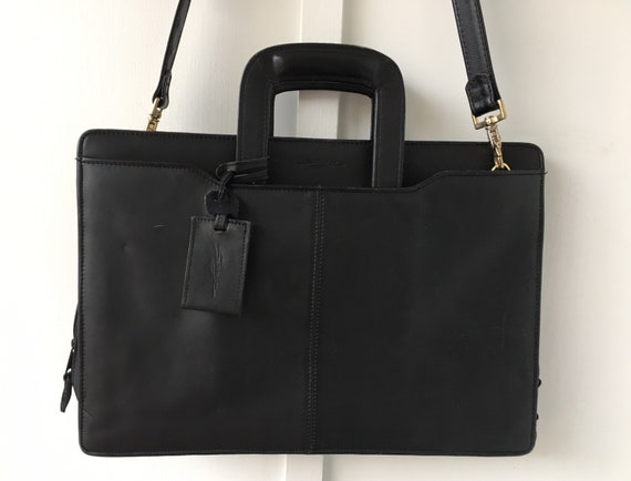 Vintage Black Leather Briefcase Attaché Case/Lapto
