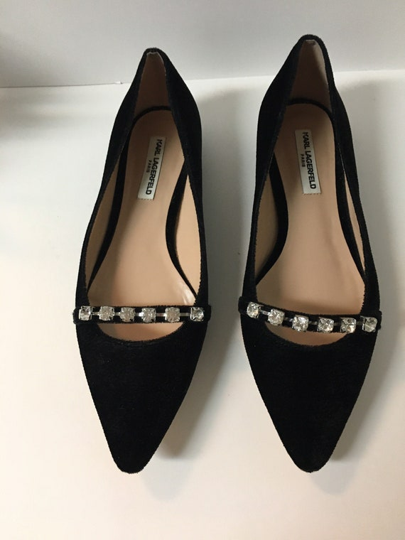 Pointed Toe Black Flat Shoe  With Square Rhineston